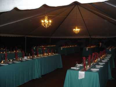 Inside the Tent at Night with Chandeliers