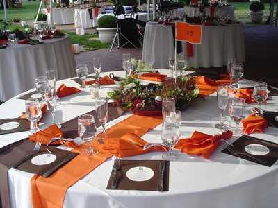 Orange and Brown themed Tables