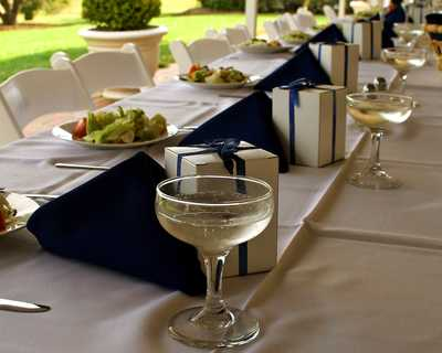 Salad Plates and Blue Centerpieces