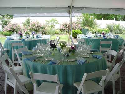 Tables with Blue Table Cloths